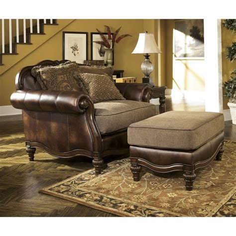 leather oversized chair with ottoman claremore faux leather oversized chair with ottoman