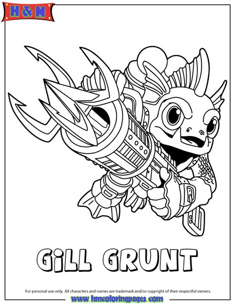 skylanders coloring pages jet vac skylanders giants water series2 gill grunt coloring page