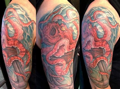 anchor quarter sleeve tattoo octopus anchor half sleeve by mike boissoneault tattoos