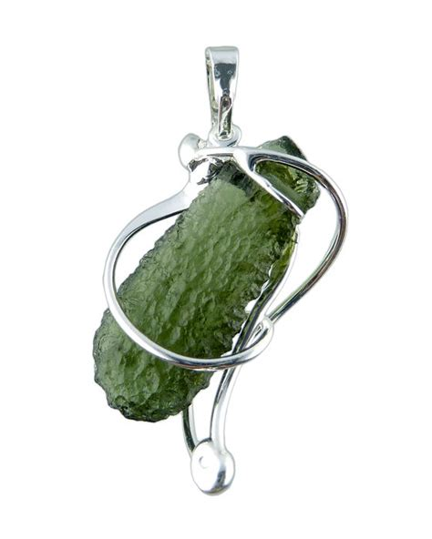 Moldavite 1 39 Gram impact glass moldavite in handmade pendant 4 1 gram