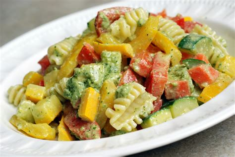 pasta salad vegetarian summer vegetable pasta salad with lemon basil almond pesto
