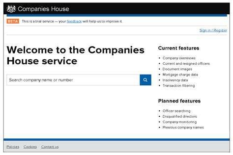 Uk Free Search Launch Of The New Companies House Beta Service Gov Uk
