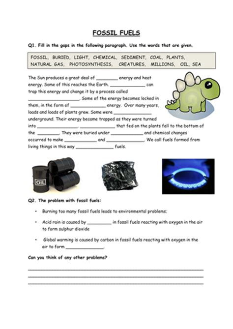 Fossil Worksheets by Fossil Fuel Worksheet Calleveryonedaveday