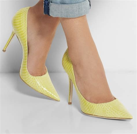 aliexpress buy yellow embossed leather pointed toe pumps slip on pumps high heels