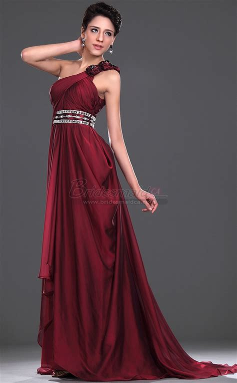 Bridesmaid Dresses Area - burgundy chiffon one shoulder bridesmaid dress bd