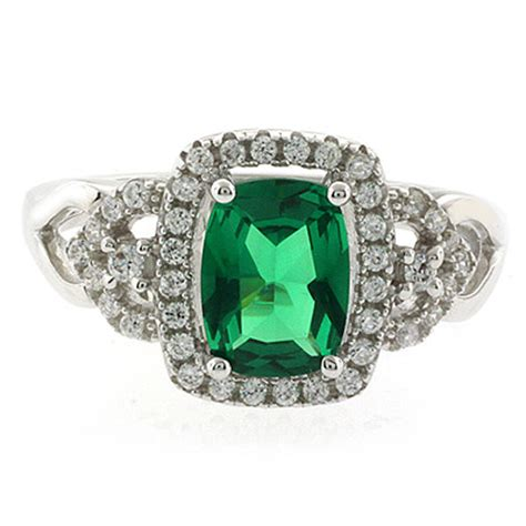 green emerald sterling silver ring silverbestbuy