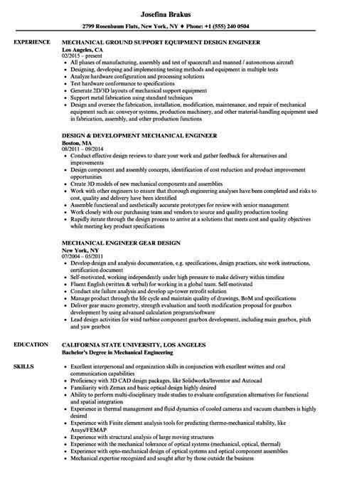 mechanical design engineer resume format mechanical engineer design resume sles velvet