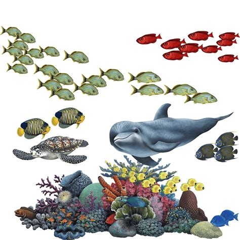Under The Sea Wall Stickers coral reef tropical fish mural wall sticker set fills a
