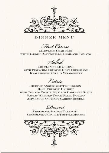 design menu for wedding wedding menu design ideas world of printable and chart