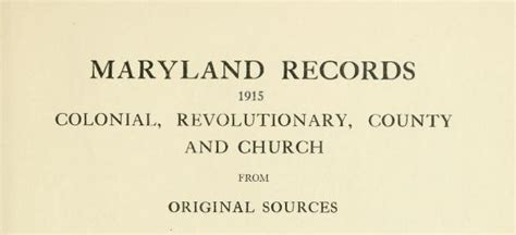 Maryland Records Maryland Records Colonial Revolutionary County And Church