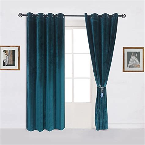 peacock blue curtain panels super soft luxury velvet set of 2 dark green blackout