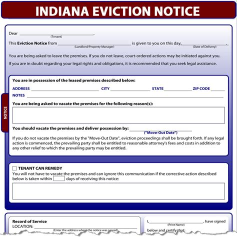 printable eviction notice indiana indiana eviction notice