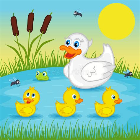 row your boat letra mother duck with ducklings on lake stock vector