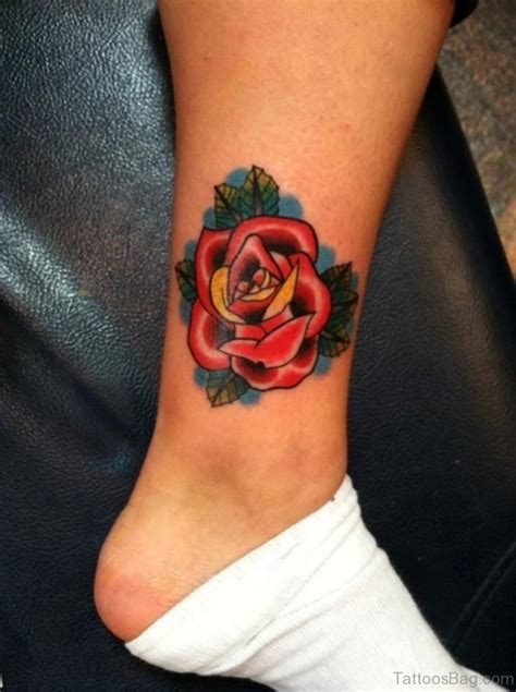 simple red tattoo 41good looking rose tattoos for ankle