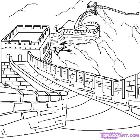 great wall of china coloring page az coloring pages