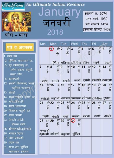 2018 Hindu Calendar January 2018 Indian Calendar Hindu Calendar
