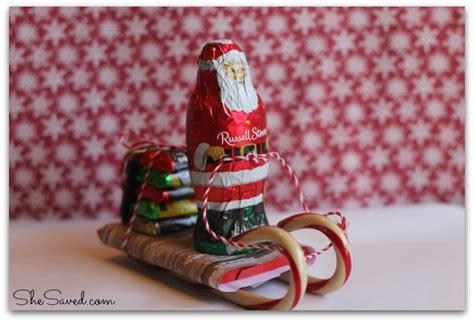 santa candy sleigh christmas craft shesaved