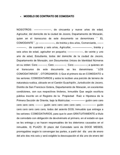 contratos modelo modelo de contrato de comodato 1