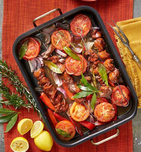 red lamb  vegetable tray bake recipe  homes