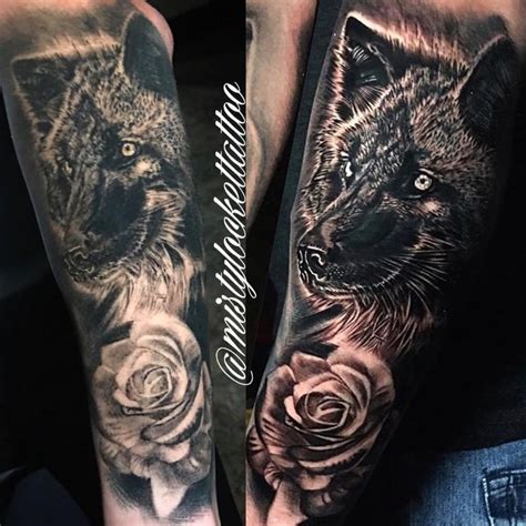 black and grey wolf with rose by misty locket tattoonow