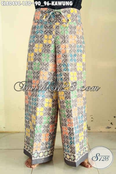 Kulot Jersey All Size celana kulot batik motif kawung proses cap buat cewek busana bawahan nan trendy modis buat