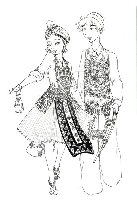 Hmong New Year Coloring Pages | hmong new year drawing sketch coloring page