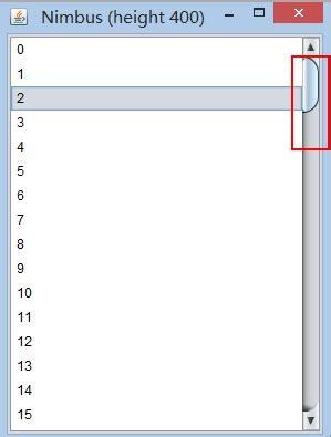 java swing scrollbar java jscrollbar don t show thumb in nimbus l f stack