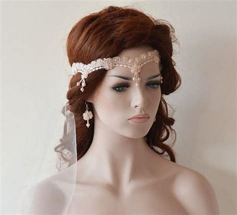 wedding hair accessories pink wedding lace headband blush pink bridal headband bridal