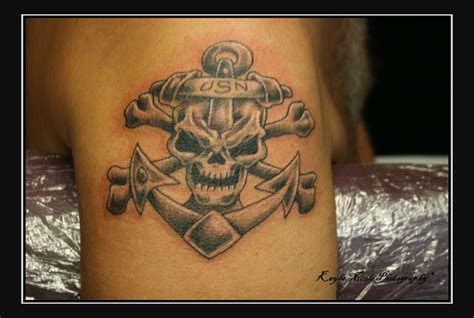 usn tattoos usn skull anchor image tattooshunt
