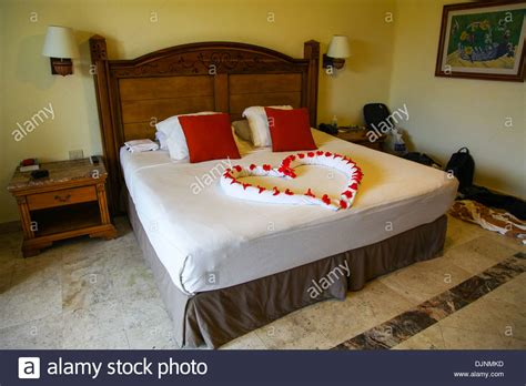 heart shaped bed heart shaped bed decoration at 5 star hotel catalonia royal tulum at stock photo