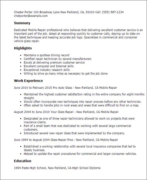 Mobile Resume by Professional Mobile Repair Templates To Showcase Your