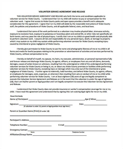 Service Agreement Form Volunteer Service Agreement Template