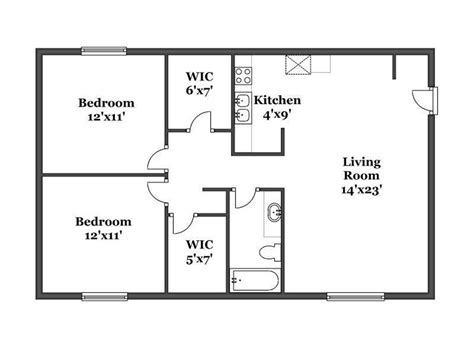 Floor Plan For 2 Bedroom House by Hillside Floor Plans Kalamazoo Apartments
