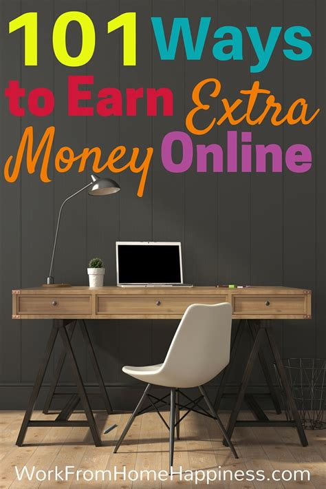 Make Extra Money Online - 101 ways to earn extra money online work from home happiness
