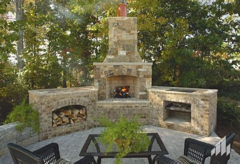 cool outdoor fireplace and grill patio