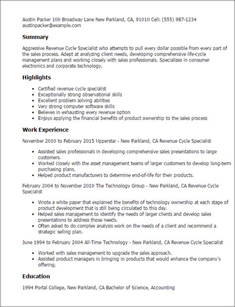Revenue Cycle Specialist Sle Resume by Professional Revenue Cycle Specialist Templates To Showcase Your Talent Myperfectresume
