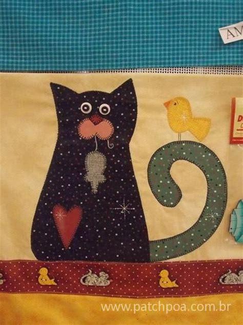 Patchwork Cats - patchwork cat moldes patchaplique gatinho