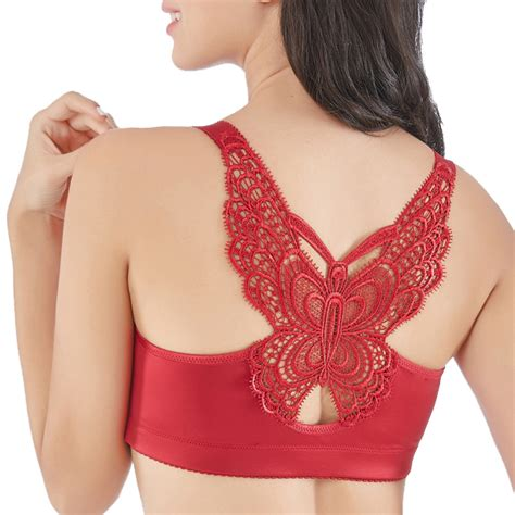Front Closure Strappy Bra push up butterfly front closure wire free smooth strappy
