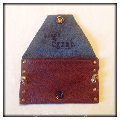 Leather Card Holder Handmade handmade leather card holder brown skulls studs 94070