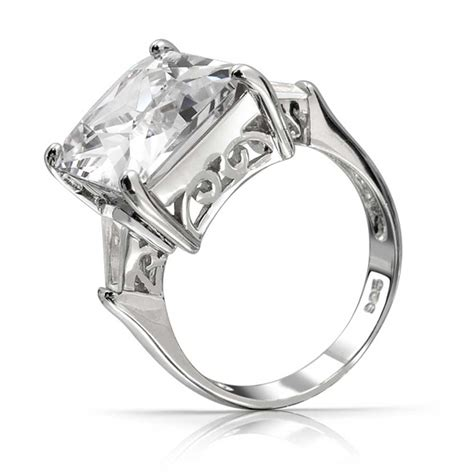 emerald cut classic cz engagement ring with baguette side