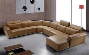 contemporary brown leather sectional with retractable
