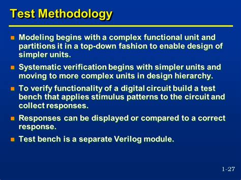 what is test bench in verilog coe 405 introduction to logic design with verilog ppt