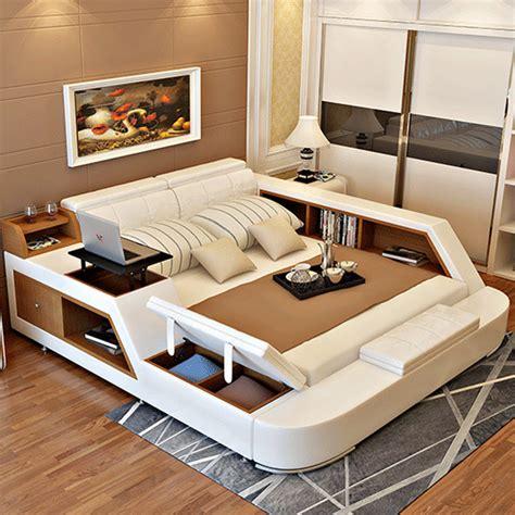 Modern Storage Bed Frame Modern Leather Size Storage Bed Frame With Storage Bookcase Cabinets Stool No Mattress