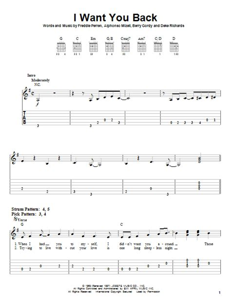 I Want You Back Guitar Chords