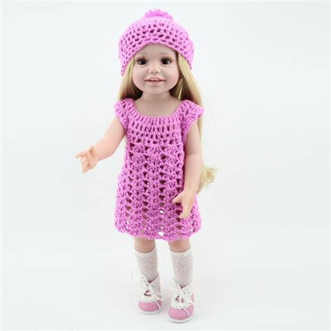 Handmade Baby Clothes Wholesale - wholesale dolls clothes purple knit dress hat fit 18 inch
