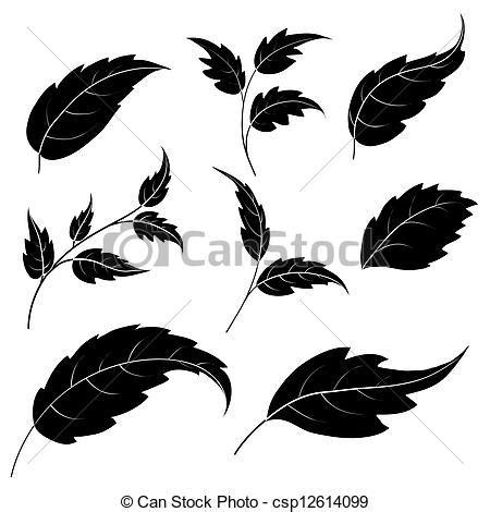 imagenes de hojas a blanco y negro stock de ilustraciones de siluetas negro hojas set de
