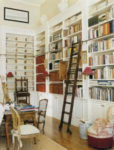 library style bookcase with ladder hydrangea hill cottage the hamptons home and gardens of