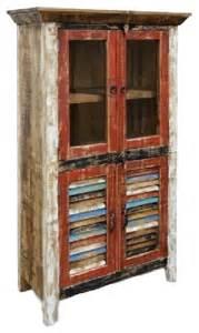 Distressed Corner Curio Cabinet Distressed Reclaimed Wood Curio Cabinet Rustic China