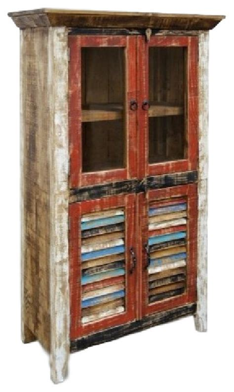 Distressed Curio Cabinet by Distressed Reclaimed Wood Curio Cabinet Rustic China