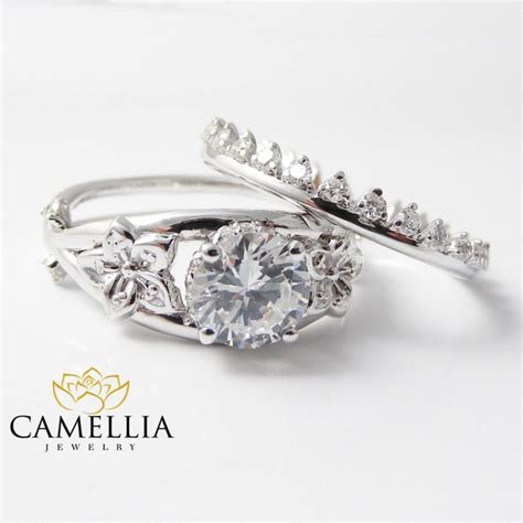 unique white gold engagement rings 14k bridal set